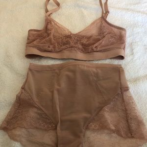 Spotlight on Lace Bralette and brief set. Spanx.